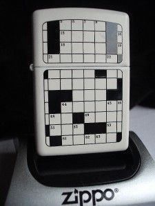 Crossword Puzzle White Zippo Windproof Lighter SEALED New Discontinued