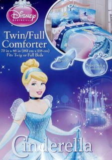Disney Cinderella Blue Pink Full Comforter Sheets 5pc Bedding Set New