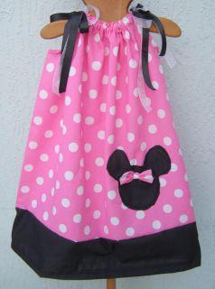 Minnie Mouse Disney Pillowcase Dress Girl Size 4 6 8 10 12 Pink White