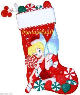 Disney World Tinker Bell Candy Cane Christmas Stocking