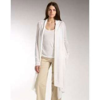 NWT DKNY DONNA KARAN PURE WHITE COZY CASHMERE WRAP LONG CARDIGAN