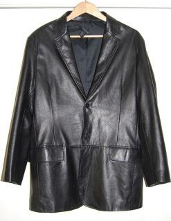 DKNY Donna Karan Size M 38 Mens Black Leather Blazer Jacket Sport Coat