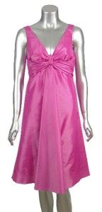 Donna Morgan Taffeta V Neck Knot Front Cocktail Party Dress Cotton