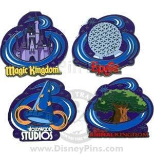 Disney 4 Pin Set Four Parks One World Castle Tree of Life Spaceship