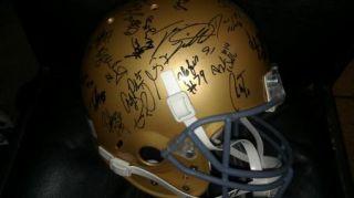 2009 NOTRE DAME team signed Football Helmet  CERTIFICATE  OVER 35