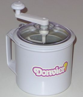VINTAGE DONVIER ICE CREAM MAKER HAND CRANK CHURN 1 QUART COMPLETE IN