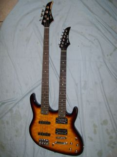 Double Neck Guitar and bass guitar. 6 string and 4 string, solid wood