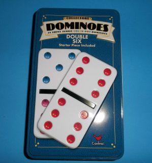 Cardinal Double Six Dominoes 28 Jumbo Colored Dots Metal Storage Box