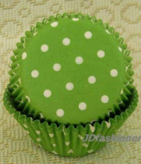 Green white Dot muffin baking cups cupcake cases liners paper cups