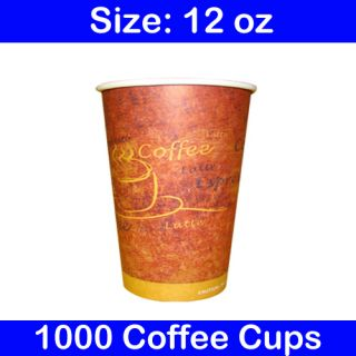Disposable 12 oz Hot Coffee Paper Cups Case of 1000