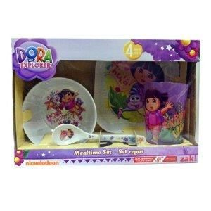 Dora The Explorer Mealtime Set 4 Piece Melamine Childs Kids Dishes Zak