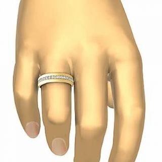 Round Pave Eternity Wedding Diamond Mens Dome Band Ring 14k Gold