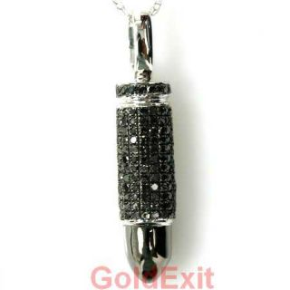 Diamond 14k Solid White Gold 1 75 grams Mens Fashion Bullet Pendant