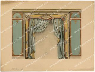 Art Nouveau Interior Decoration Foussier or Litho 1900