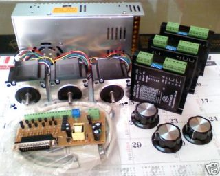 DIY Cnc PC Mach3 Control 3 axis Kit NEMA23 step motor 13kg cm with 1