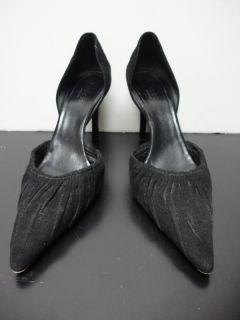 gucci black suede dorsay pump heel size 7 5