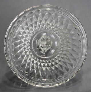 VTG INDIANA GLASS DIAMOND POINT RUBY FLASH RIM LlIDDED CANDY DISH