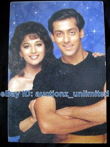 Bollywood Actor Salman Khan Madhuri Dixit India Star RARE Old Post