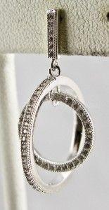 sterling silver 60ctw white sapphire double hoop dangle earrings 4 1g