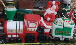 christmas blow mold santas train - Christmas Blow Mold