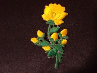 Long Stem Yellow Rose Embroidery Applique Patch Emblem Lot 60 Dozen