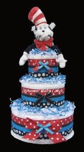 dr seuss the cat in the hat diaper cake centerpiece gift