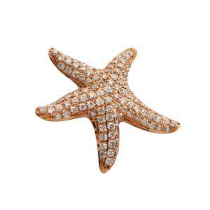 14k Rose Gold Pave Diamond Starfish Pendant Necklace