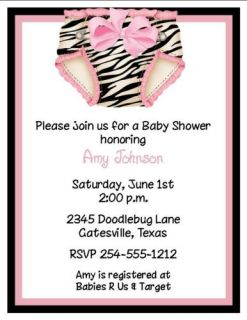 24 Zebra Diaper Baby Shower Invitations