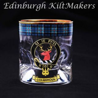 Clark Clan Crested Whisky Glass Tartan Whisky Glasses