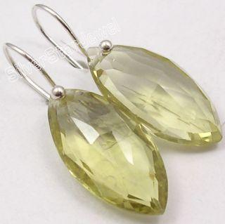 925 Silver Lemon Quartz Exclusive Dangle Earrings 3 2cm
