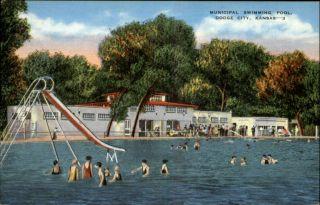 Dodge City KS Swimming Pool Water Slide Old Postcard