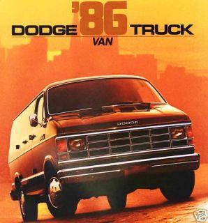 1986 Dodge RAM Van Brochure B150 B250 B350 Maxivan