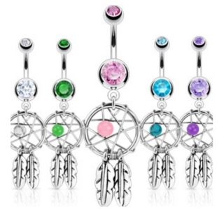 Dreamcatcher Gem Star Feathers Belly Navel Ring CZ Button Piercing