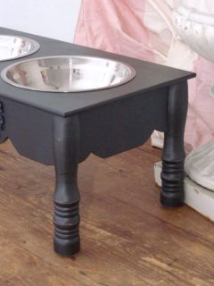 Shabby Cottage Chic 7 Black Raised Pet Dog Cat Feeder