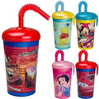 Kids Plastic Minnie or Cars Drinking Cup with Straw Water Canteen