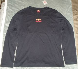 Red Bull Energy Drink Womans X Large Long Sleeve Navy V Neck Shirt