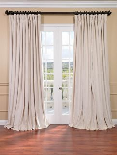 Ivory Double Wide Velvet Blackout Pole Pocket Curtains & Drapes