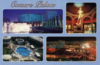 Vintage Las Vegas Postcard Caesars Palace 4 Different Views Dated 1986