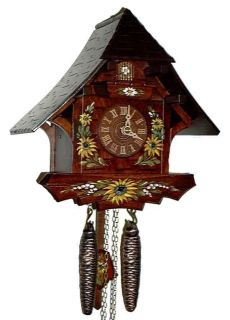 Dold 1 603 Sunflowers Small Chalet 1 Day German Cuckoo Clock