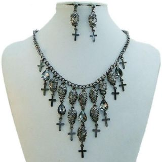 Skull Cross Drop Necklace Earring Set Black Rhinestone Crystal