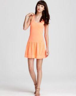 New Orange Terry Cloth Racerback Drop Waist Sundress M BHFO