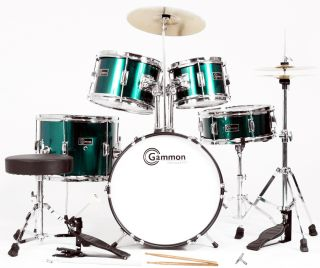 Green Junior Child 5 Piece Drum Set Cymbals Stands New Everything