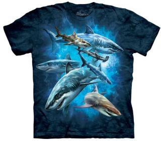 Shark Collage Tee T Shirt Ocean Great White Hammer Child Medium The