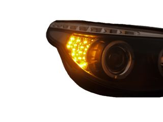 BMW 5ER E60 E61 Angel Eyes Scheinwerfer Black LED Blinker Weiß Angel