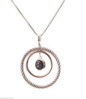 David Yurman Silver Pave Black Diamond Mobile Pendant Necklace 16 925