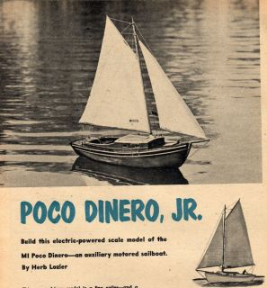 POCO DINERO JR MODEL SAILBOAT PLANS SAILER SAIL BOAT ORIGINAL