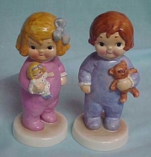 Goebel Dolly Dingle Billie Bumps at Christmas Figurines Pair w Germany
