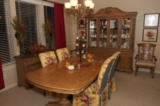 Lexington Solid Wood Dining Room Set Table Buffet Hutch Chairs