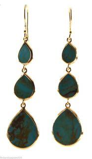 New IPPOLITA 18K Yellow Gold Turquoise Triple Drop Slice Long Earrings