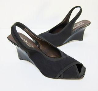 Donald Pliner Tyna Black Wedge Heels Slingback 6 5 M